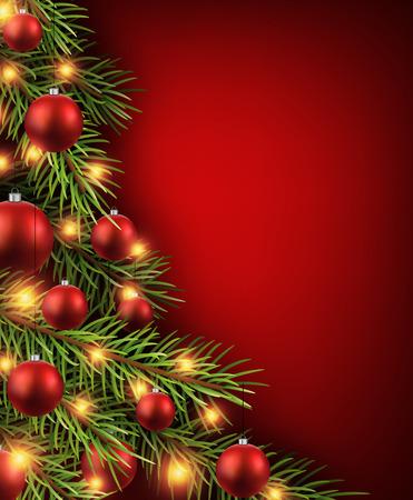 tannenbaum: Weihnachten roten Hintergrund mit Weihnachtsbaum. Illustration