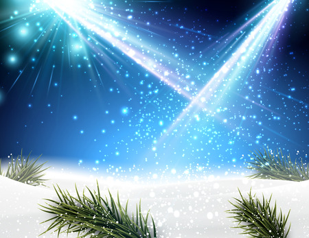 blue christmas background: Winter background with fir branches.