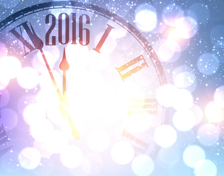chiming: 2016 New Year shining background with clock.