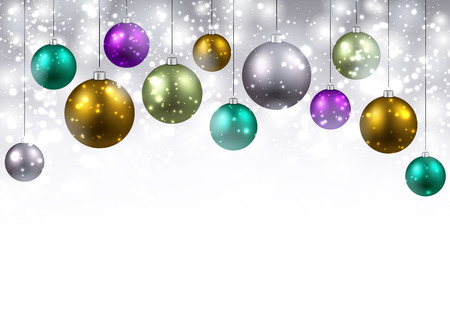 green and purple: New Year background with colourful balls.