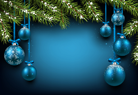 Christmas blue background with fir branches and balls. Çizim