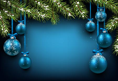 Weihnachten blauen Hintergrund mit Tannenzweigen und Kugeln.