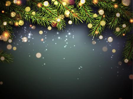 Hintergrund des neuen Jahres mit Tannenzweigen und Konfetti.