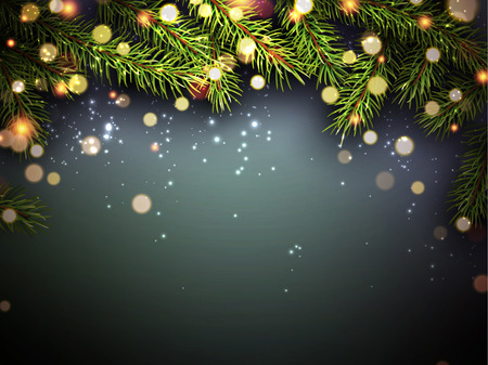 happy new years: New Year background with fir branches and confetti.
