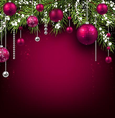 전나무 분기와 공 크리스마스 배경입니다.