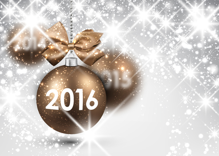 argent: 2016 New Year background with gold balls Illustration