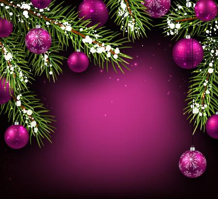 전나무 분기와 공 크리스마스 배경
