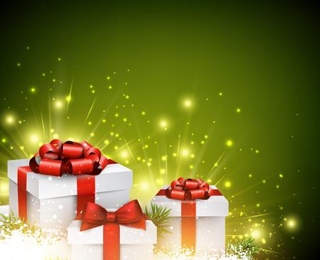 선물과 함께 크리스마스 배경 일러스트