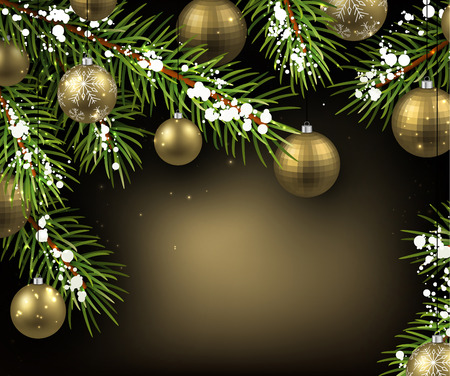Christmas background with fir branches and balls. Vector illustration.  イラスト・ベクター素材