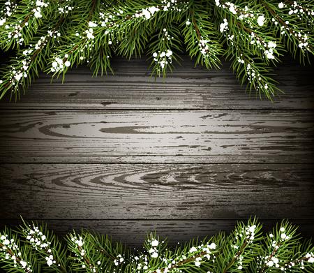 Houten winter achtergrond met dennentakken Stock Illustratie