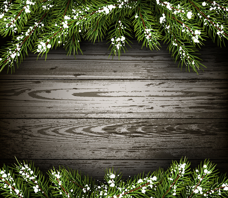 winter background: Wooden winter background with fir branches