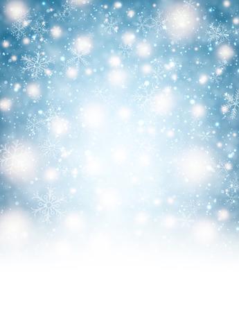 feriado: Fondo del invierno con las luces y los copos de nieve.