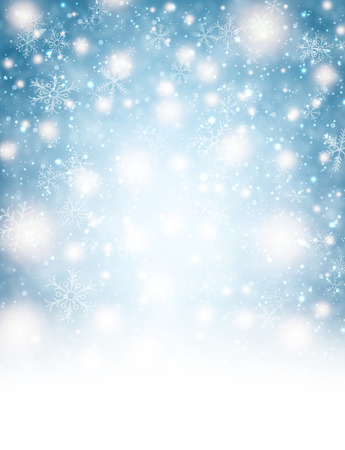 snowflake background: Winter background with lights and snowflakes.