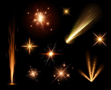 festive background: Festive orange firework set isolated on black background.