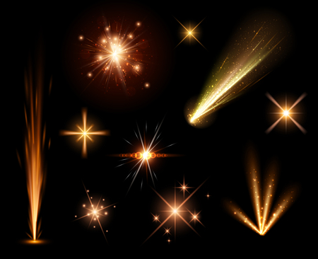fireworks: Festive orange firework set isolated on black background.