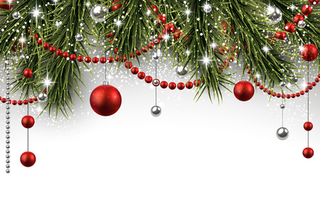 Christmas background with fir branches and balls. Vectores