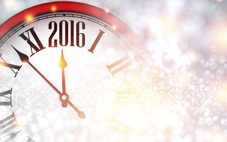 chiming: 2016 New Year background with clock.