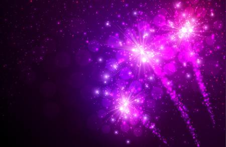 festive: Festive lilac firework background.