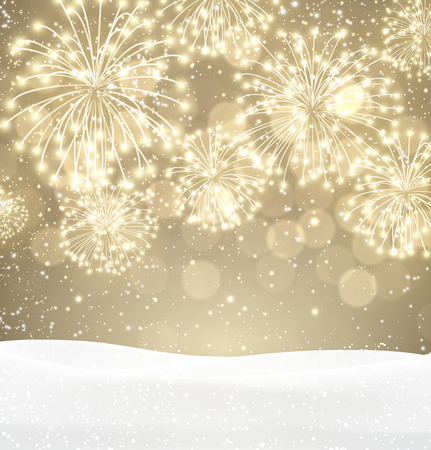 christmas gold: Festive xmas firework sepia background. Illustration