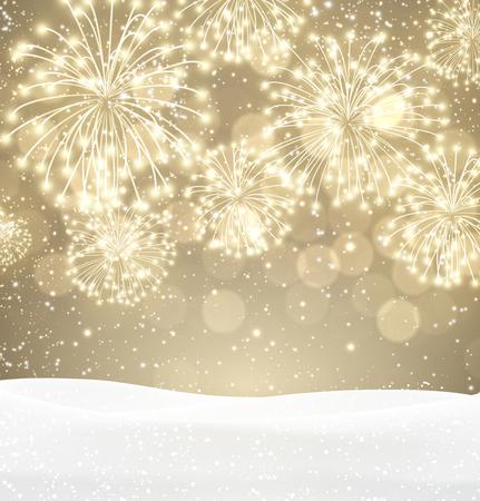 Festive xmas firework sepia background. Vettoriali