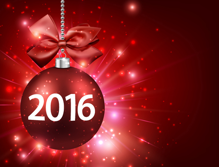 red ball: 2016 New Year card with red ball. Illustration