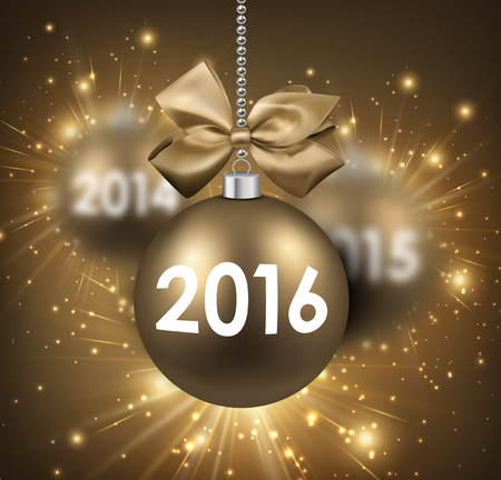 argent: 2016 New Year card with gold balls.