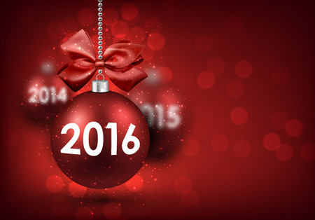 argent: 2016 New Year card with red balls.