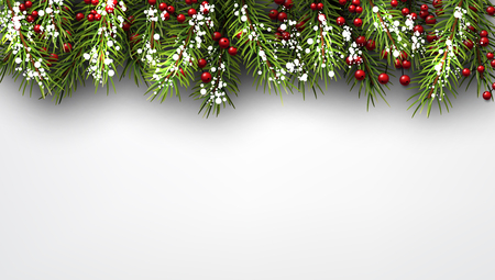 Winter achtergrond met dennentakken. Stock Illustratie