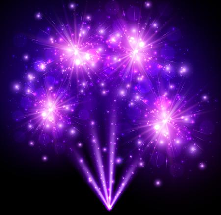 festive: Festive purple firework background.