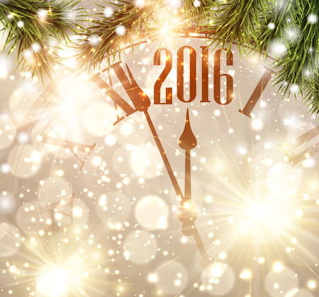 paper: 2016 New Year background with clock and fir branches. Illustration