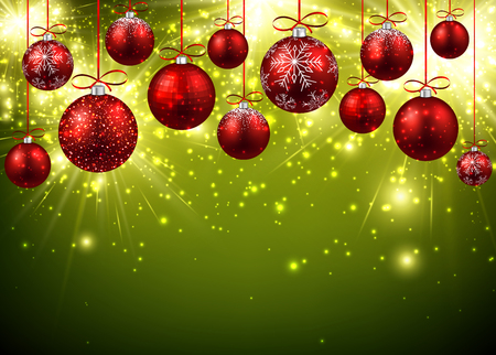 christmas ball: New Year background with red balls.
