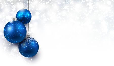 silver ribbon: Christmas background with blue balls. Illustration
