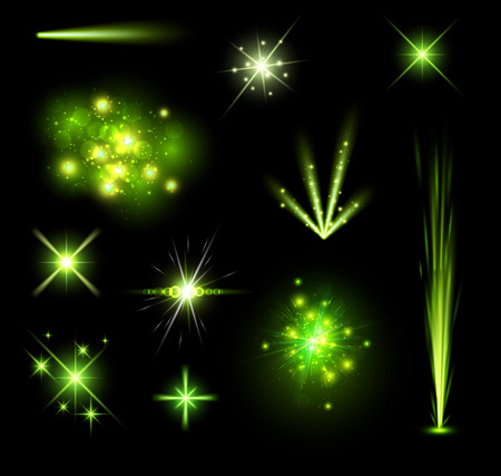 black background abstract: Festive green firework set isolated on black background.