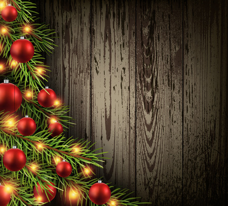 Christmas wooden background with christmas tree.