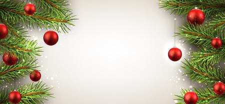 Kerst achtergrond met dennentakken en rode ballen.