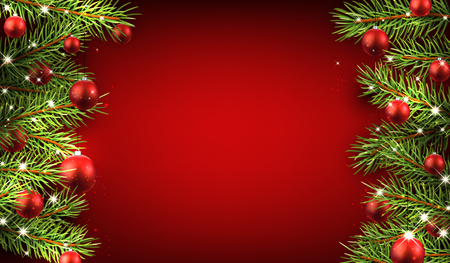 Christmas red background with fir branches and balls. Çizim