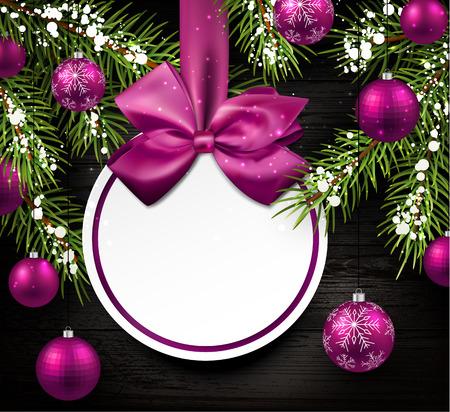 전나무 분기와 공 크리스마스 나무 카드.