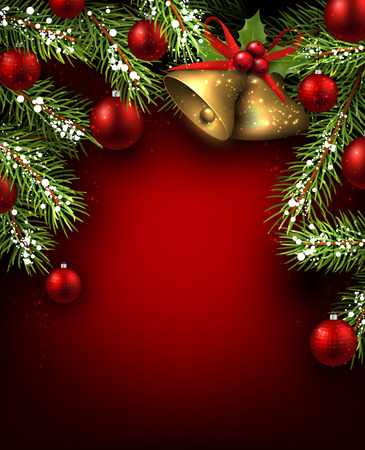 Christmas red background with fir branches and bells.