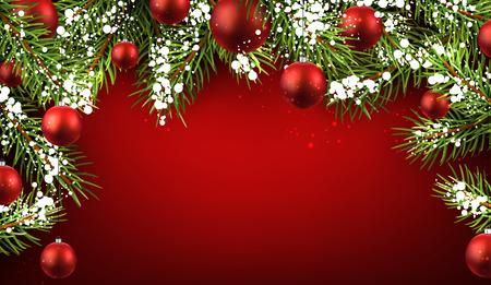 전나무 분기와 공 크리스마스 빨간색 배경입니다.