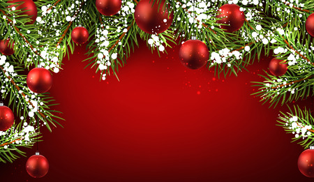 Christmas red background with fir branches and balls. Illustration