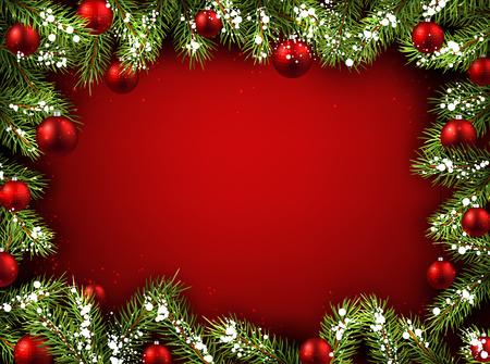 Kerst rode achtergrond met dennentakken en ballen.