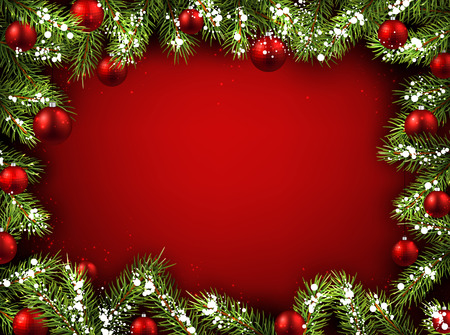 Christmas red background with fir branches and balls. Vettoriali