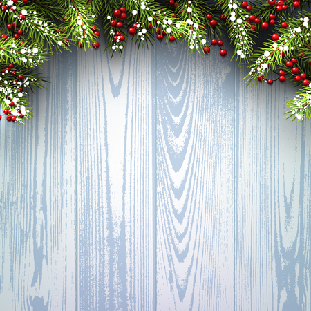 interior decoration: Winter wooden background with fir branches. Illustration