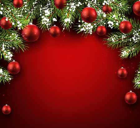 Christmas red background with fir branches and balls. Vectores