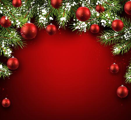 sapin: No�l fond rouge avec des branches et des boules de sapin.