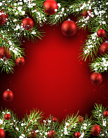 Christmas red background with fir branches and balls. 矢量图像