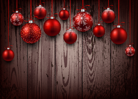 Christmas wooden background with red balls. Stock Illustratie