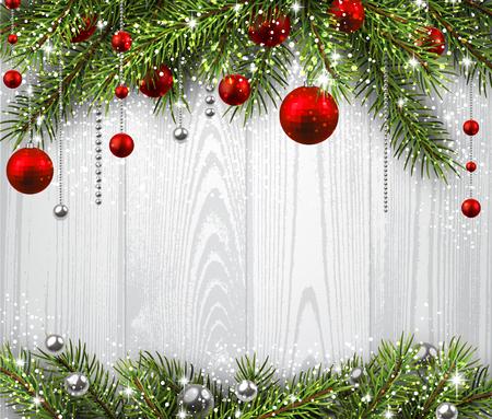 Weihnachten Holzuntergrund mit Tannenzweigen und Kugeln.
