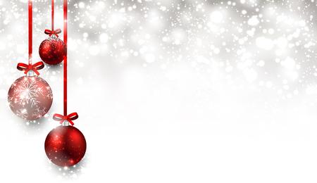 flocon de neige: Fond de No�l avec des boules rouges.