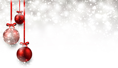 Christmas background with red balls.